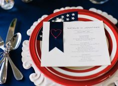 Red, white and blue place settings make for such a  patriotic photo opp at your Army wedding!