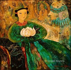 """Silent Lotus"" mixed media on liene 30x30""  2008  © Shijun Munns  #Art #OilPaintings  #painting Lotus Painting, Original Paintings, Original Art, Lotus Art, Thing 1, People Art, Magazine Art, Fine Art Gallery, Art Museum"