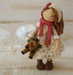PiccoleBambole: Homemade reindeer cold porcelain christmas doll
