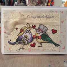 Crazy Birds wedding card
