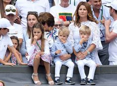 Roger Federer's Two Sets Of Twins Steal The Show Amid Their Father's Victory At Wimbledon Roger Federer Family, Mirka Federer, Federer Wimbledon, Kim Clijsters, Wimbledon 2017, Jimmy Connors, Tennis World, Professional Tennis Players, Tennis Stars