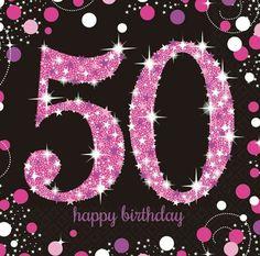 GBP - Amscan Sparkling Celebration Happy Birthday Napkins (Pack Of & Garden Happy 50th Birthday Sister, 50th Birthday Messages, 40th Birthday Parties, Happy Birthday Images, Happy Birthday Greetings, 50th Birthday Meme, 50th Birthday Quotes Woman, 50th Birthday Cards For Women, Birthday Ideas