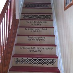 Painted steps. Using the Silhouette Cameo to make vinyl decal decorations on the risers. Psalm 37:23-24