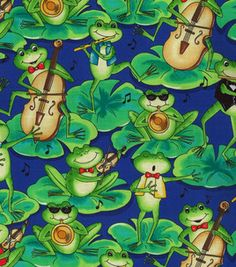 Novelty Quilt Fabric- Frogs With Instruments