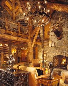 Magestic Greatroom, built by Custom Log Homes, Victor, Montana My Dream Home Log Home Living, Living Room, Living Area, Bohinj, Log Cabin Homes, Log Cabins, Rock Fireplaces, Boho Home, Timber House