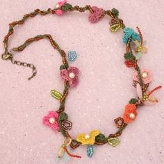 dragonfly flower vine crochet necklace