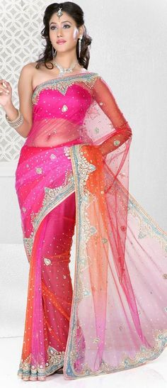 $193.7 Pink Net Crystal and Stone Work Party Wear Saree 22650