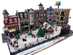 This is a great layout combining the Lego modular buildings and the Lego Christmas village.