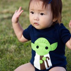 Fancy - Handmade Felt Appliqued Star Wars Yoda Bodysuit.. Maybe a DIY to try?!
