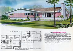 """Wonderful mid-century """"Morning Star"""" rancher style house plan. #vintage #1950s #homes #houses #blueprints #pink"""