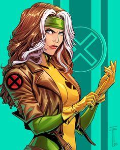 Rogue Comics, Marvel Xmen, Marvel Comics Art, Marvel Heroes, Comic Book Characters, Marvel Characters, Comic Character, Gambit X Men, Rogue Gambit