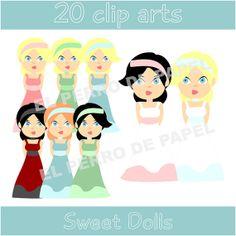Sweet Dolls Clip Arts 50 DE DESCUENTO por ElPerrodePapel en Etsy, €1.10
