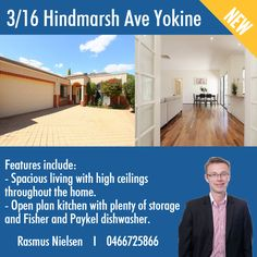 """""""New Property For Sale: 3/16 Hindmarsh Ave Yokine""""- A must See: This is a fantastic opportunity for the owner occupier or astute investor who appreciates a great home in an ideal location. To know more about this property click here: www.mavinrealestate.com.au Or Contact Rasmus Nielsen at 0466725866"""