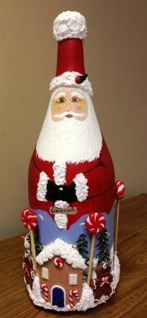 Santa Painted Wine Bottles | Wine Bottle Santa by Mary Schwaiger - I loved receiving this as a gift ...