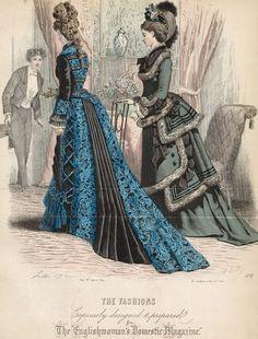 ) The Englishwoman's Domestic Magazine (Originally appeared in Le Moniteur de la Mode) 1870s Fashion, Edwardian Fashion, Vintage Fashion, Fashion Goth, French Fashion, Ladies Fashion, Historical Costume, Historical Clothing, Illustration Mode