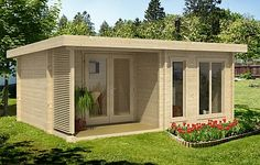 Orkney log cabin, garden office, Log Cabins for sale, Free Delivery Flat Roof Shed, Corner Summer House, Plan Chalet, Log Cabins For Sale, Garden Cabins, Double Vitrage, Dome House, Backyard Sheds, Design Your Dream House