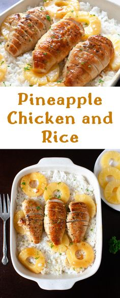 Pineapple Chicken and Rice Dinner Recipe. Tender chicken cooked in a sweet pineapple honey Dijon sauce and served over rice. #chicken #chickenreicpes #dinnerideas #foodrecipes