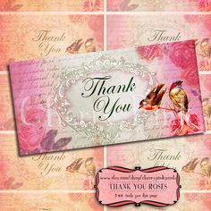 Shabby chic Vintage Roses Printable thank you card printable digital collage sheet