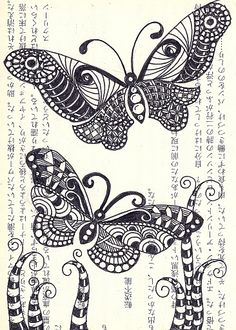 zentangle butterflies. I love love love butterflies so couldn't resist repinning these