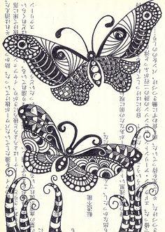 zentangle butterflies. I love love love butterflies so couldn't resist repinning these