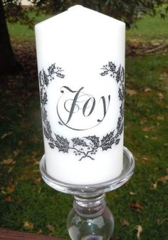 Printed 6 Pillar Candle JOY Wreath Christmas By ExcuseMeDesigns, $10.00
