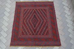 vintage afghan tribal handmade square rug kilim Turkish interior rug 3'9 x 4'2Ft #Handmade #Tribal