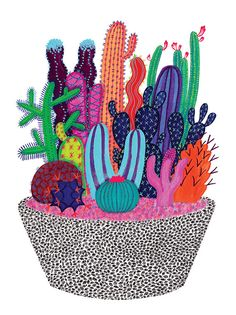 Hang this colorful cactus garden to brighten up your home...the pot is adorned with tons of seeing eyes! This reproduction of the original gouache