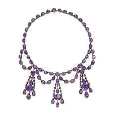 Gold and Amethyst Necklace, late 19th century.  The festoon-style necklace supporting oval, round and pear-shaped amethysts