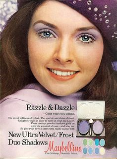 Ad for Maybelline featuring Morgan Brittany. Makeup when I was a teenager was all about the blues and purples! 1970s Makeup, Vintage Makeup Ads, Retro Makeup, Old Makeup, Vintage Beauty, Vintage Ads, Vintage Books, Makeup Advertisement, Retro Advertising