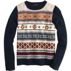 J.Crew Jeweled Fair Isle stripe sweater found on Polyvore