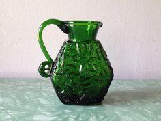 vintage 1960s green glass pitcher. retro bud vase. home decor.   ReRunRoom   $12.00