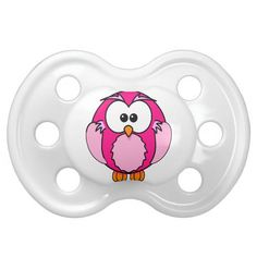 Cute Pink Owl Baby Pacifier - Unique Baby Pacifiers for Girls