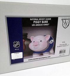 Los Angeles Kings team spirit, Stanley Cup Winners   Be the fan that saves with this bank   Hockey Fan gift, Graduation Gift , 10.5 inches x 7 inches x 7.5 inches   NHL Fans, Youth friendly   Ceramic cute L.A. Kings Piggy Bank will keep your money safe  Officially Licensed by the NHL