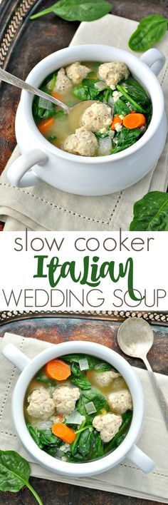 The mini chicken meatballs and the pasta cook right in the Crock Pot for an easy and healthy Slow Cooker Italian Wedding Soup! The perfect weeknight comfort food dinner!