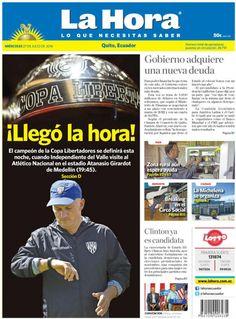 Buenos días estimados lectores. Iniciamos una nueva jornada de noticias con nuestra portada para #Quito.  La ampliación de nuestros temas los encuentra en:  www.lahora.com.ec
