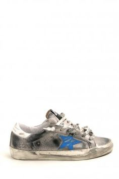 Golden Goose shoes - sneakers super star - lurex leather - leather sneakers in silver color with a light blue star on the side. Golden Goose Collection Spring Summer 2013.