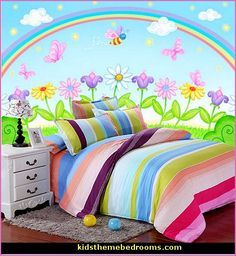 rainbow theme bedrooms - rainbow mural stickers - Rainbow wall decals - rainbow bedroom decorating ideas - Rainbow colors bedroom design ideas