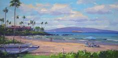 """Wailea, Always Paradise"" Art by Ronaldo Macedo, Size: 12x24 at Lahaina Galleries"