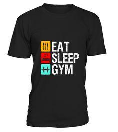 Funny Eat Sleep Gym T-shirt Fitness Workout Gym Motivation