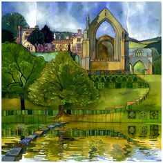 The World of Artist, Kate Lycett What do you love about living in Hebden Bridge and Yorkshire? For Yorkshire the friendliness of people! Yorkshire Dales, Bolton Abbey, Cottage Art, Building Art, Inspirational Artwork, Contemporary Artwork, Art For Art Sake, Art Design, Watercolor Paintings