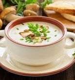 Use a mixture of fresh mushrooms, widely available at farmers' markets and supermarkets, for making this quick, woodsy-tasting soup. Mushroom Cream Soup, Wild Mushroom Soup, Stir Fry Onions, Fried Onions, Creamed Mushrooms, Stuffed Mushrooms, Stuffed Peppers, Mango Avocado Salsa, Burger Cookies