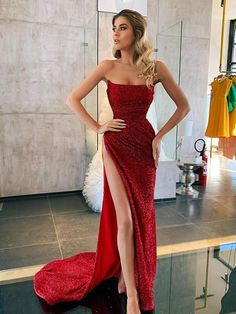 Elegant Cocktail Straight Side Slit Sequin Mermaid For Young Girls Evening Long Prom Glam Dresses, Elegant Dresses, Pretty Dresses, Beautiful Dresses, Formal Dresses, Long Dresses, Prom Outfits, Fashion Outfits, Fashion Weeks
