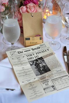 Handmade vintage style newspaper wedding menus by bylittlegoddies, $200.00