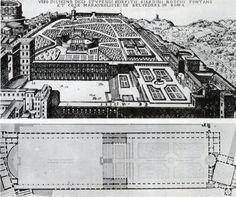 Donato BRAMANTE: Grabado con el aspecto del Cortile del Belvedere según el proyecto original (hoy desdibujado). Unía mediante escalinatas y jardines los palacios de invierno y de verano del Papa.