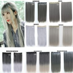 """Gray Gradient&Solid  Color 5Clips Synthetic Clip in Hair Extensions Straight 24"""" 60cm 120grams Heat Resistant Fiber Hairpiece"""