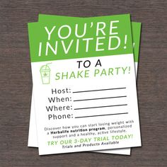 Shake Party Invite Instant Download by WackyJacquisDesigns