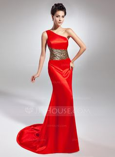 Trumpet/Mermaid One-Shoulder Sweep Train Zipper Up at Side Regular Straps Sleeveless Red Winter Spring Summer Fall General Plus Charmeuse Evening Dress