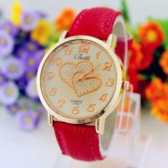 2016 New Elegant Fashion Ladies Watches Heart Leather Women Watch Analog Quartz Watches Women Men Casual Hours Wrist Watch