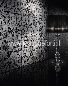 ALGEDI collection by AKROS. Tiles on marble nero marquinia decorated silver. Luxury home. Interior design.