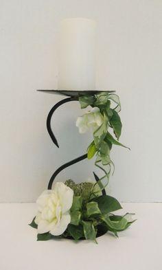 Silk flower floral arrangement centerpiece on driftwood wrought iron candle holder with silk flower floral arrangement mightylinksfo